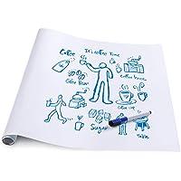 rabbitgoo Grand Tableau Blanc Adhésif Multifonction Ardoise Effaçable Sticker Autocollant Mural Rouleau Adhésif Whitebord 44.5cm x 199cm avec 1 Marqueur pour l'Ecole/Bureau/Accueil - Blanc