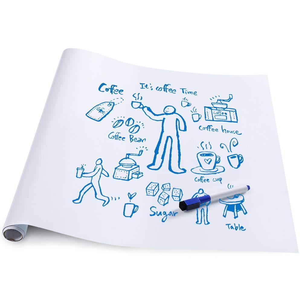rabbitgoo Grand Tableau Blanc Adh/ésif Multifonction Ardoise Effa/çable Sticker Autocollant Mural Rouleau Adh/ésif Whitebord 44.5cm x 199cm avec 1 Marqueur pour lEcole//Bureau//Accueil Blanc