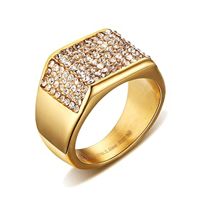 UM Joyería Acero inoxidable CZ Diamante imitación Hombres De sello anillos Oro Chapado Banda 11mm
