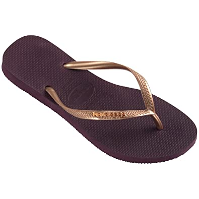 10fca17ff8d3 Havaianas Slim Logo Metallic Aubergine Strap Flip Flops Thongs Brazil  Rubber Sandals Beach  Amazon.co.uk  Shoes   Bags