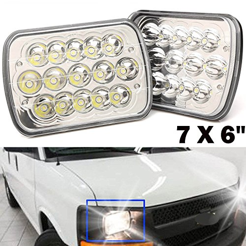 Pair 7X6 5X7 LED Headlights for Chevy Express Cargo Van 1500 2500 3500 Sealed Beam Hi/Lo H6014 / H6052 / H6054 / 6054 – 2 Year Warranty