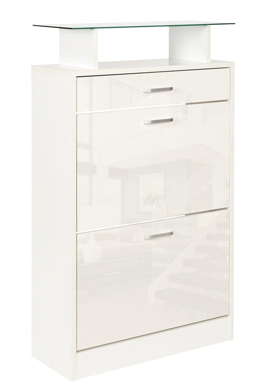 ts-ideen Scarpiera Salvaspazio 104 x 63 cm in Bianco lucido stile moderno con due scomparti ad anta basculante mensola superiore in vetro e con cassetto