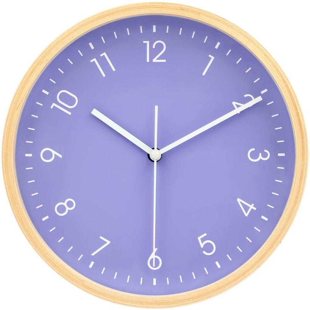 掛け時計 壁掛け ウォールクロック 木目調 連続秒針 簡単デザイン サイレント クォーツ デジタル 北欧風 20cm B078BB8TNR 20cm-blue 20cm-blue
