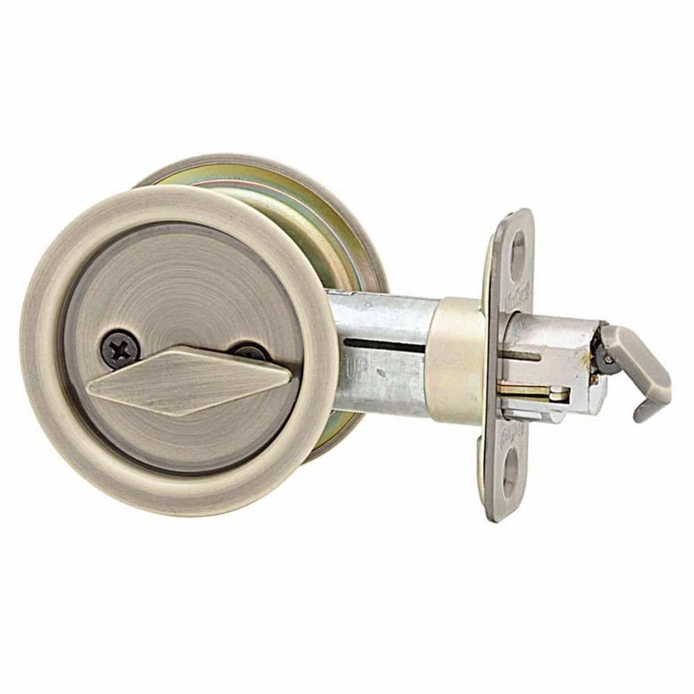 Kwikset 335 Round Bed/Bath Pocket Door Lock In Antique Brass   Door Lock  Replacement Parts   Amazon.com