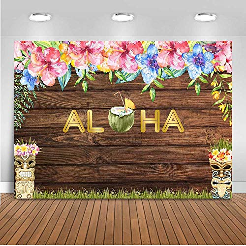 c34789fcfc461 Mocsicka Aloha Party Backdrop 7x5ft Vinyl Brown Wooden Wall Floral ...