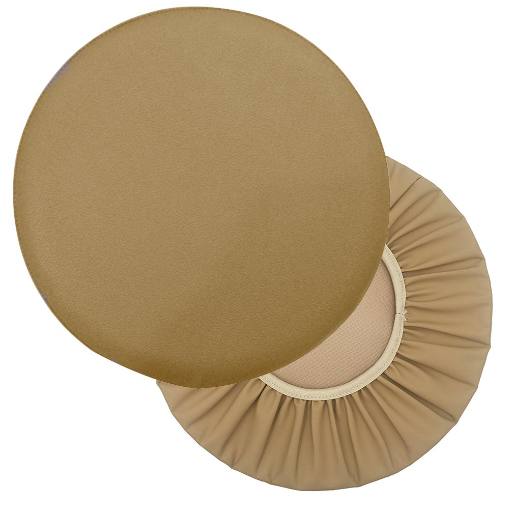 Sigmat 2PC Waterproof PU Bar Stool Cover Anti-slip Round Seat Cover 14 Inch Khaki
