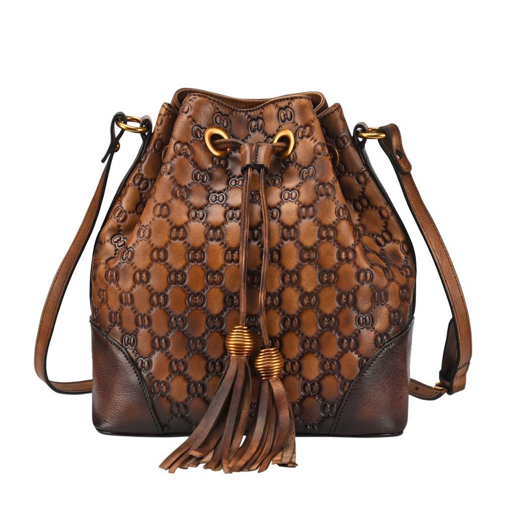 VOOO4CC Women Drawstring Shoulder Bag Leather Retro Tassel Crossbody Satchel Bag (Coffee)