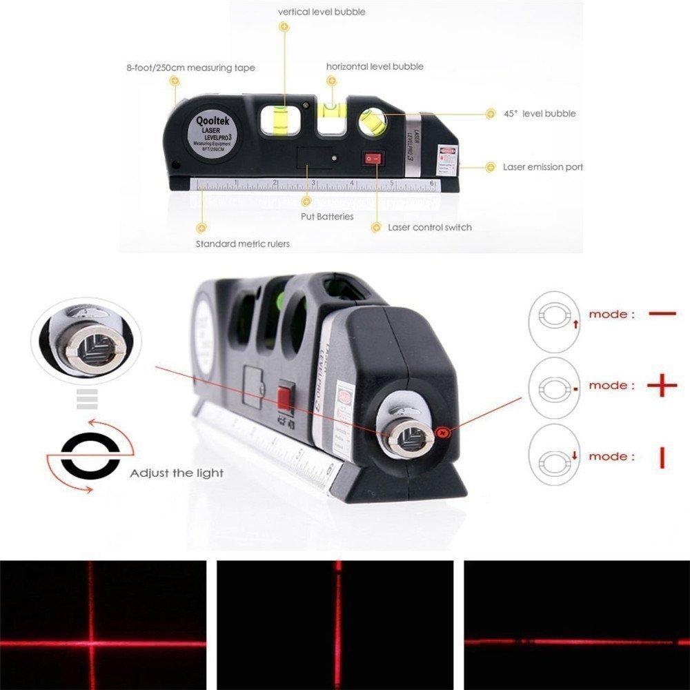 Multipurpose Laser Level laser measure Line 8ft+ Measure Tape Ruler Adjusted Standard and Metric Rulers TILY