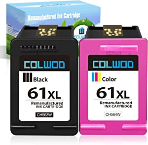 CLOWOD ReManufactured Ink Cartridge Replacement for HP 61 61XL uses with HP Envy 4500 5530 HP DeskJet 1000 1010 1510 1512 3050A 3052A HP Officejet 2620 4632 Printer(1 Black+ 1 Tri-Color), Combo Pack
