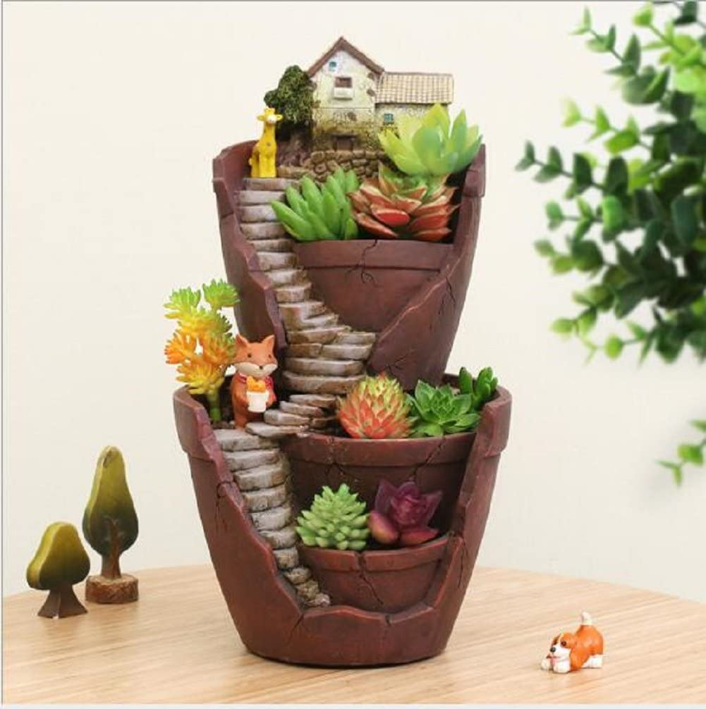 Youfui Garden Pastoral Flowerpot Combination Resin Succulent Plant Pot (City of Sky)