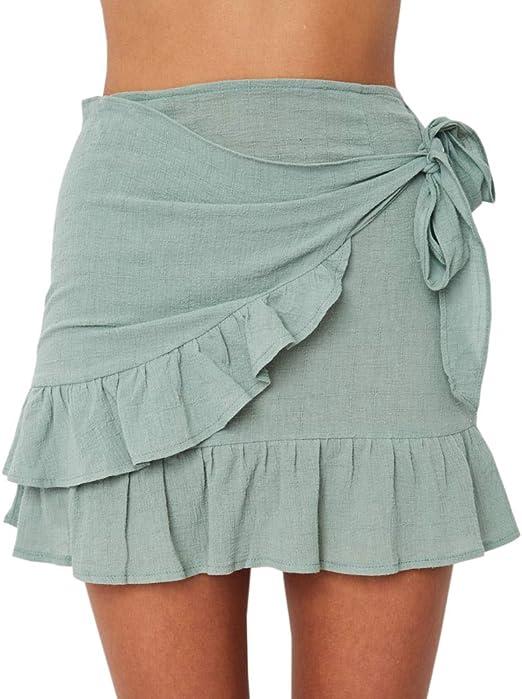 Uncinba - Falda para Mujer con Volantes y Cintura Alta, asimétrica ...