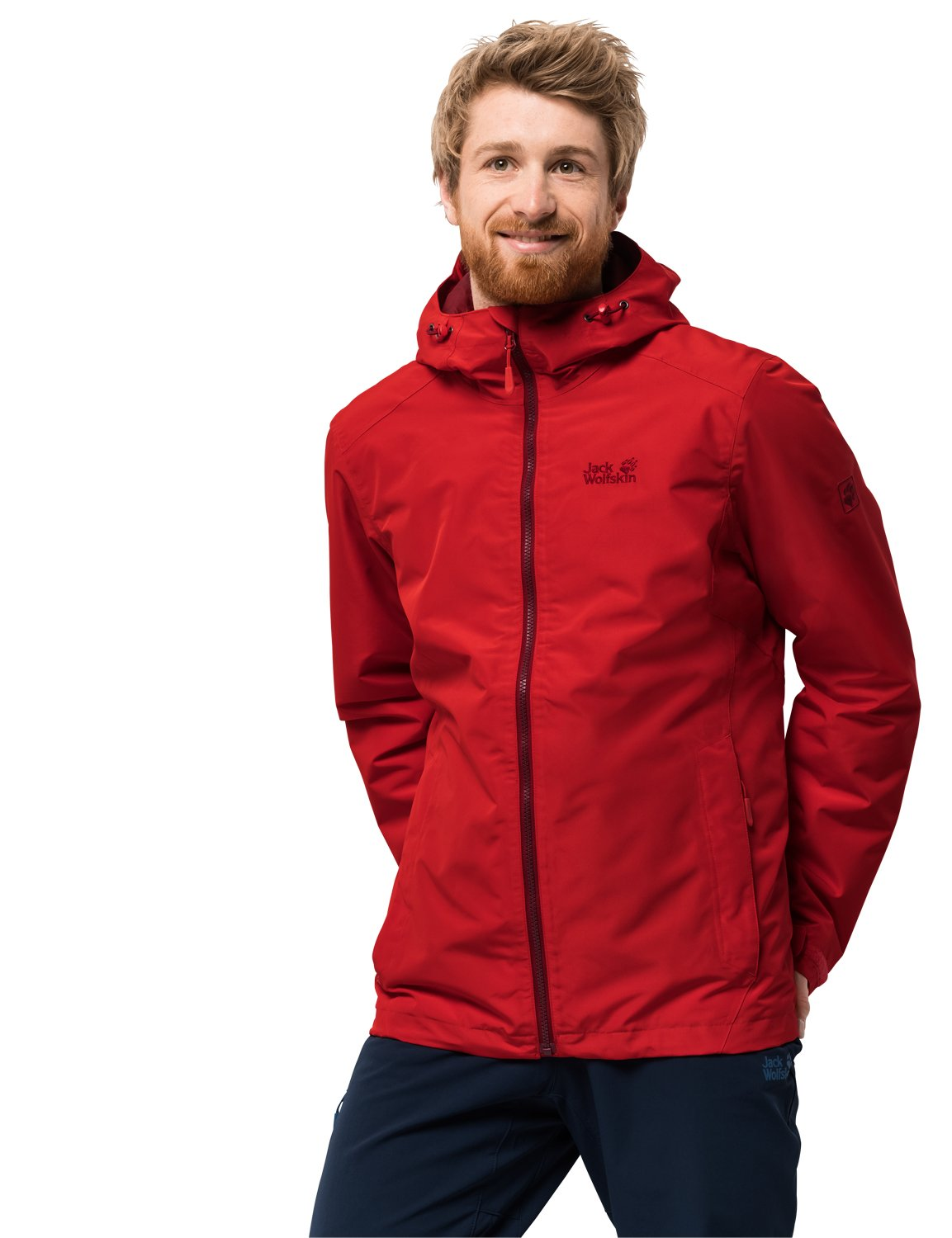 Jack Wolfskin Men's Chilly Morning Waterproof Insulated Jacket, Peak Red, Small 1108353