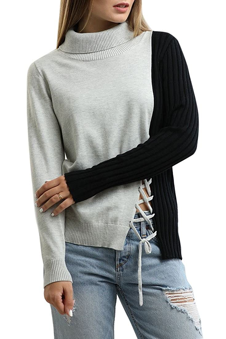 cb2965eb3c Central Park West Turtleneck Sweater with Lacing Detail - Black Grey at  Amazon Women s Clothing store