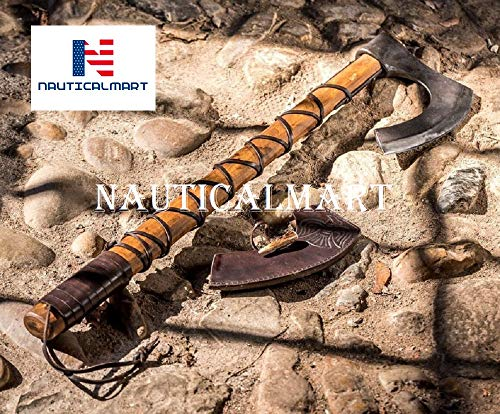 Nautical-Mart Ragnar Lothbrok Viking Axe with Leather Vikings Axes Weapon Asatru Norse Drakkar Warrior Warriors Odin Valhalla Beard Medieval Middle Ages