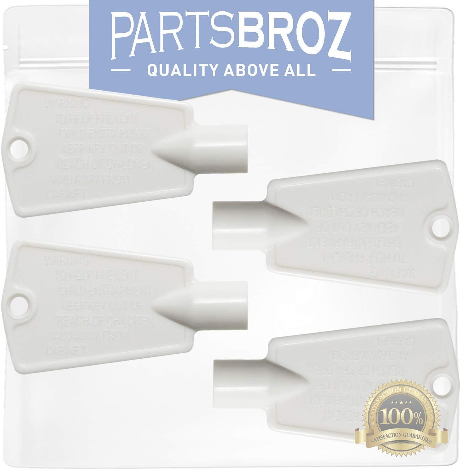297147700 (4-Pack) Freezer Door Keys for Frigidaire Freezers by PartsBroz - Replaces AP4301346, 216702900, 06599905, 08037402, 1259502, 216388700, 5308027402, 5308037402, 6599905, PS1991481 617bazlE1PL