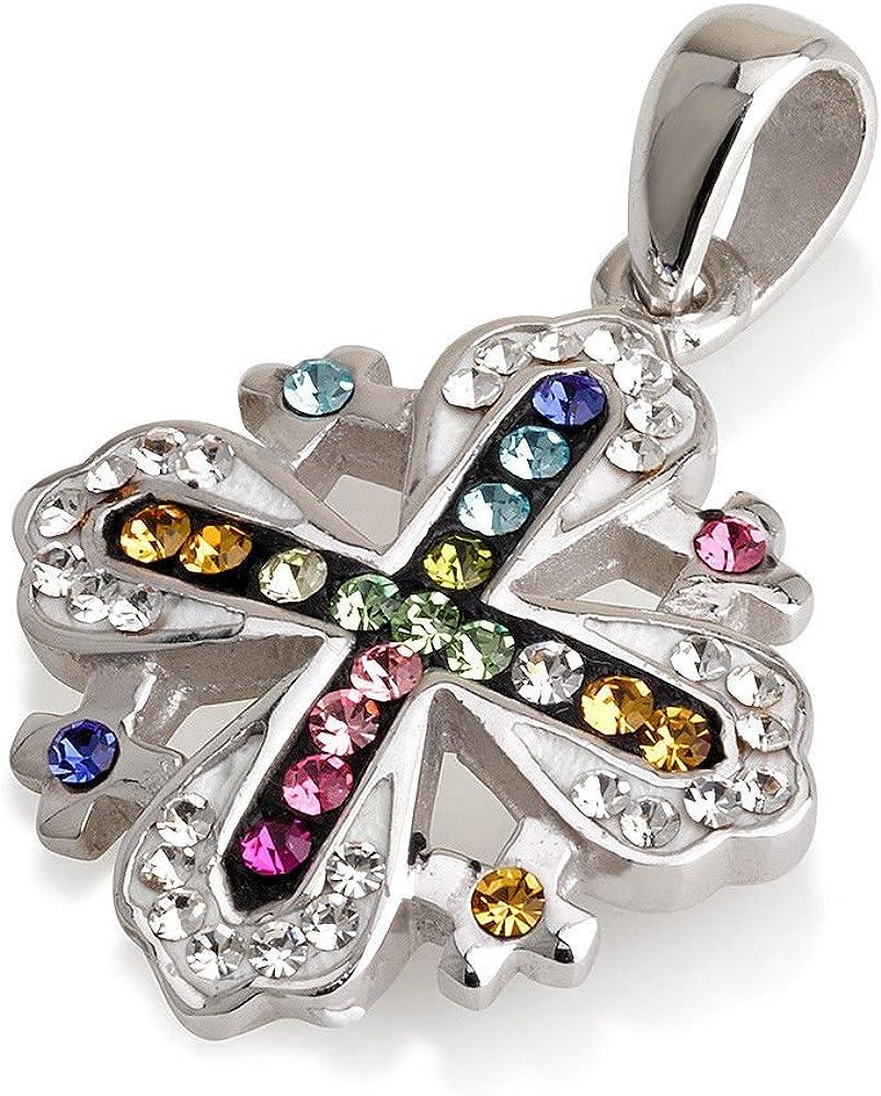 Colgante de cruz de Jerusalén, piedras preciosas de varios colores + cadena de plata de ley 925