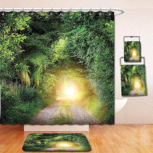 Nalahome Bath Suit: Showercurtain Bathrug Bathtowel Handtowel Magic Collection Fantasy Path Leading to Mystical Illuminated Tunnel between Trees Night Shot View Green Yellow