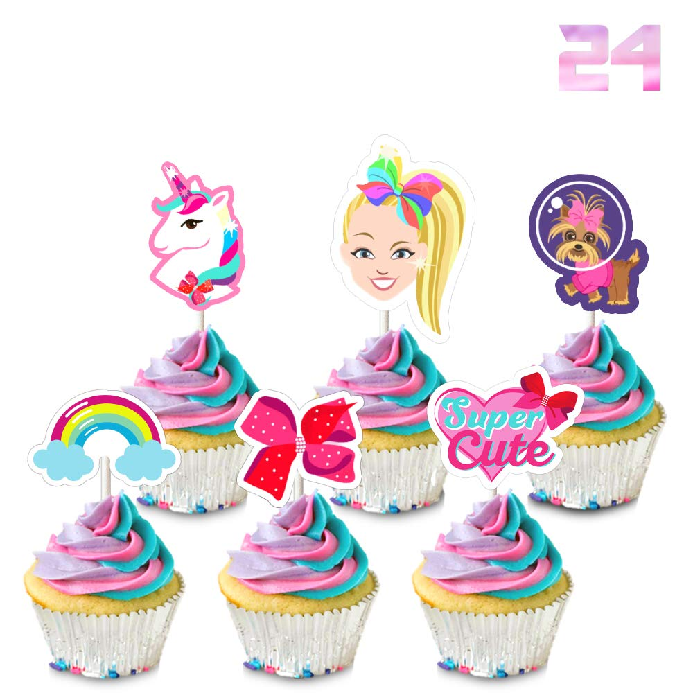 Strange 24 Jojo Cupcake Toppers Birthday Party Cake Decorations Unicorn Funny Birthday Cards Online Benoljebrpdamsfinfo