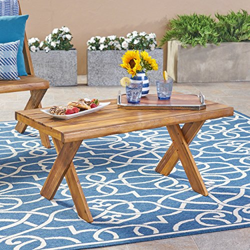 (Great Deal Furniture 304412 Irene Outdoor Acacia Wood Coffee Table, Teak, Sandblast Finish)