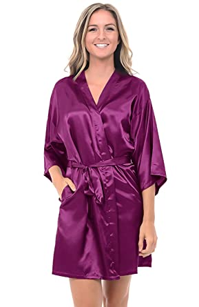 Alexander Del Rossa Womens Satin Solid Colored Robe, Mid-Length ...