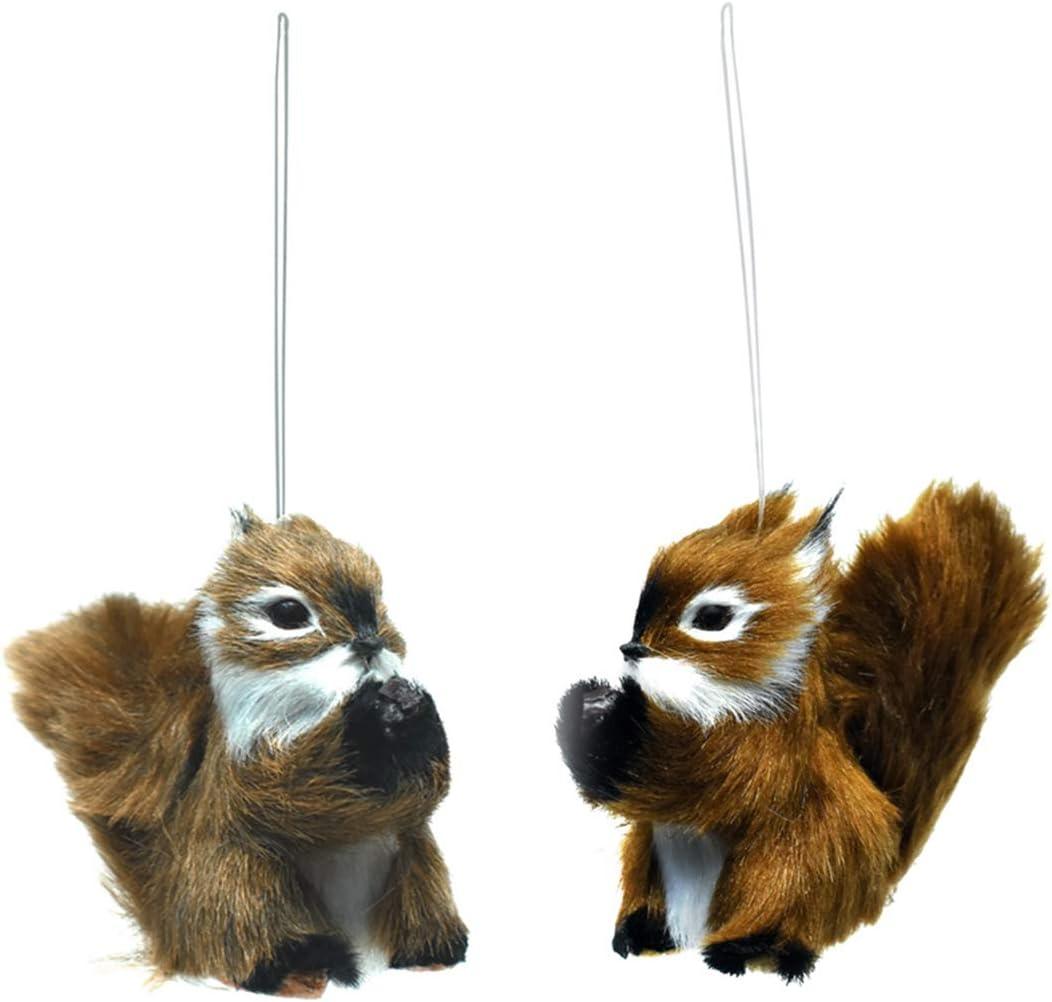 Treasure Gurus 2pc Hanging Squirrel Christmas Tree Ornament Set Holiday Figurine Gift Topper Xmas Decor