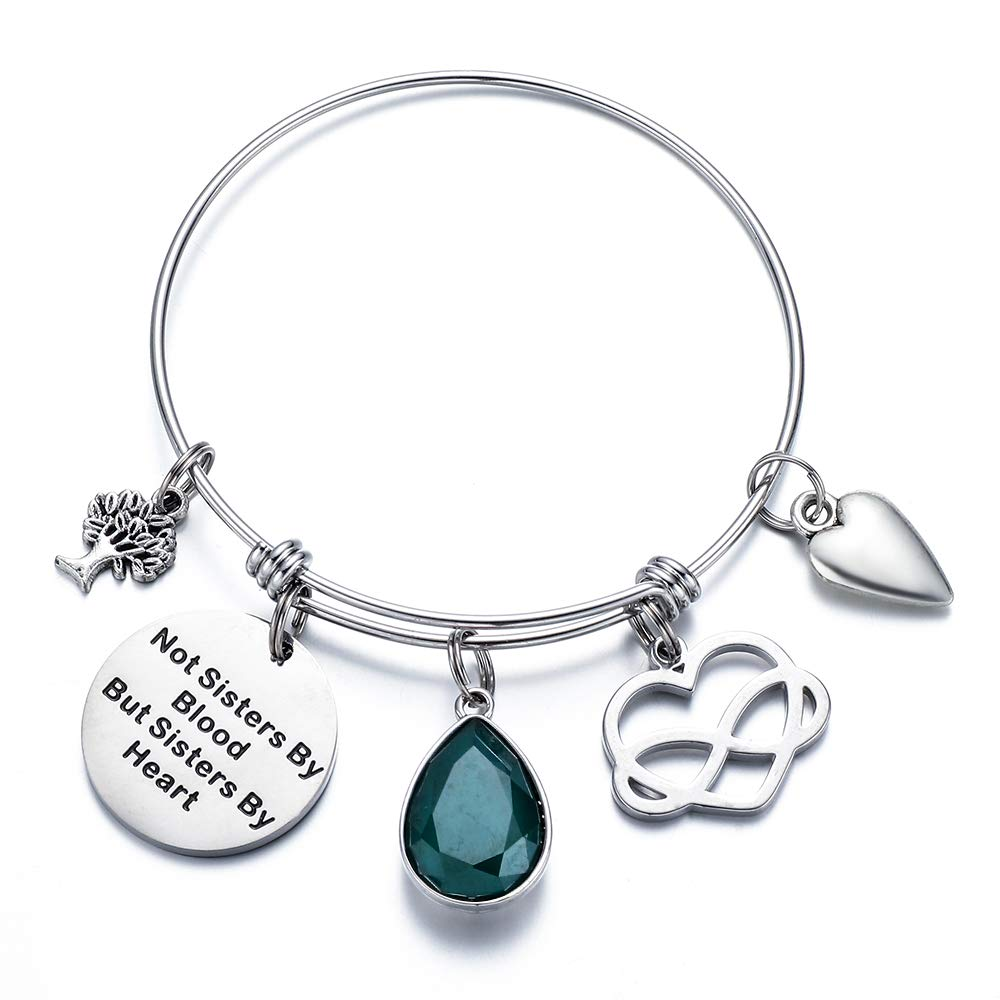 Not Sisters by Blood But Sisters by Heart Bracelet Best Friend Birthstone Bangle Bracelets Jewelry Birthday Gifts for Her BFF Birth Month Charm Bangle Bracelets for Women Friend Bracelets for Women