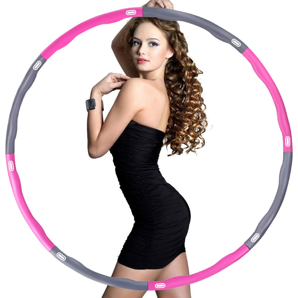 osvtni Hula Hoop for Adults Fitness Exercise Hula Hoop for Weighted Loss Hula Hoop 2lb Adjustable 8 Detachable Sections Burning Fat Sport Equipment