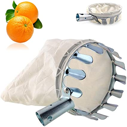 SRTYZ Fruit Picker Head Fruit Harvester Basket Garden Picking Tool with Fabric Bags Cherries and Plums Metal Fruit Pickers for Harvesting Apples