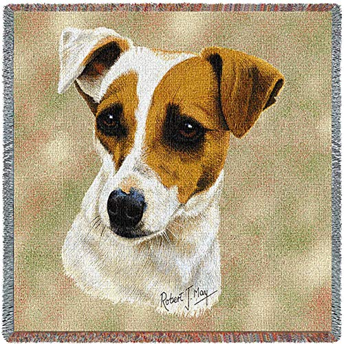 Pure Country Weavers - Jack Russell Terrier Woven Throw Blanket with Fringe Cotton. USA Size 54x54
