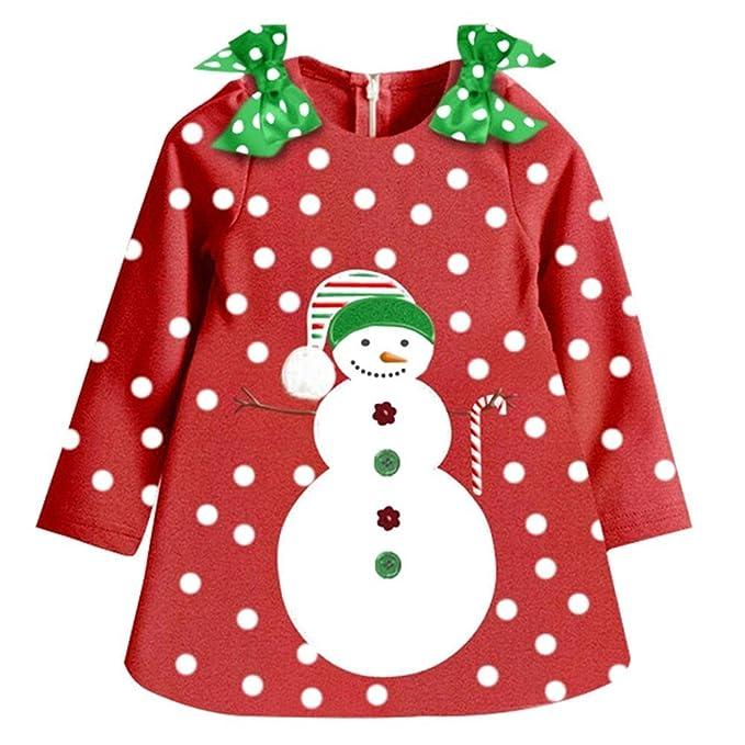 Ropa Bebe Niña Invierno Navidad Monigote De Nieve Vestido Fiesta Manga Larga Algodón Por Jinxin
