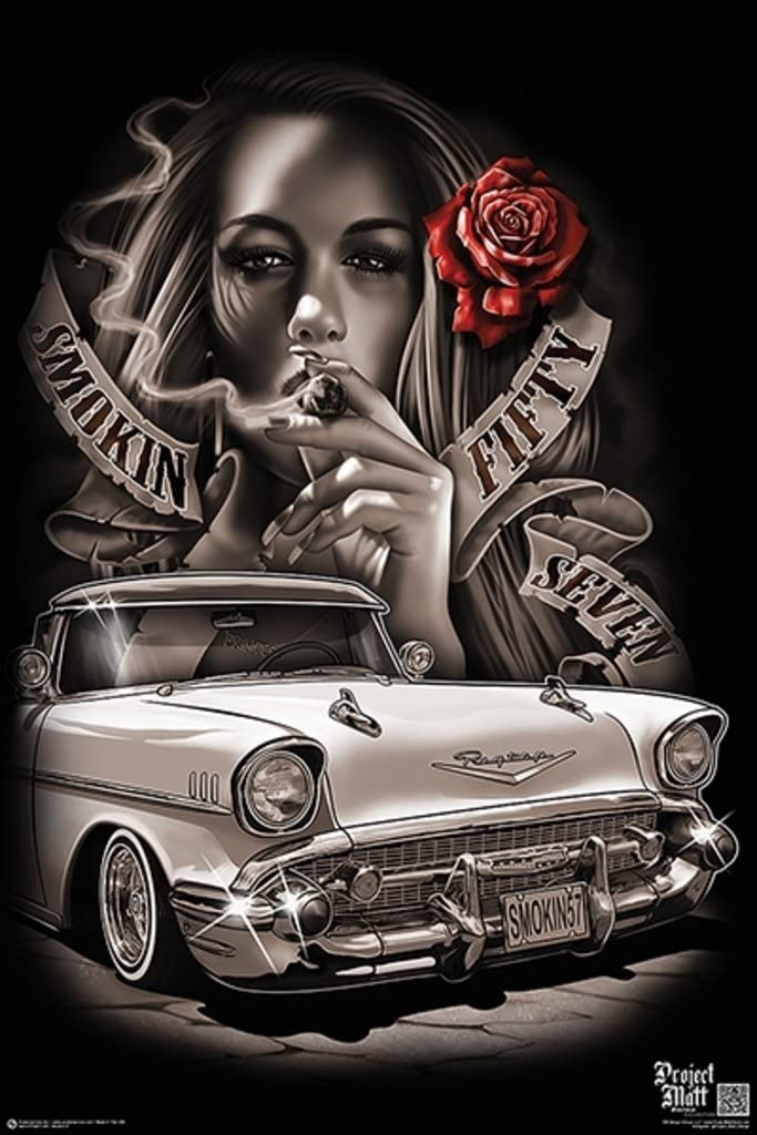 Smokin 57 Hot Rod Classic Customized Lowered Automobile Car Sexy Girl Smoking Rose Cool Wall Decor Art Print Poster 24x36
