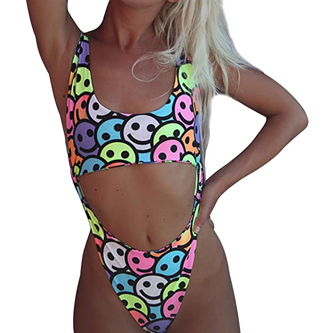 89115fc5b96 Image Unavailable. Image not available for. Color: DaiLiWei Womens One  Piece Swimsuit High Waist Bathing Suit Printed High Cut Swimwear Hollow Out