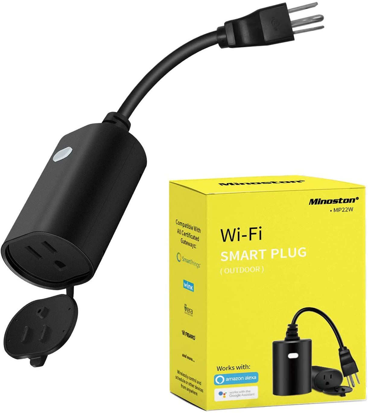 Outdoor Smart Plug WiFi Outlet Heavy Duty Plug-in Outlet, Remote Control, Waterproof, Compatible with Alexa Google Assistant, No Hub Required, Black(MP22W)