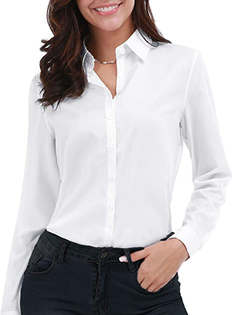 Gemolly Women\'s Basic Button Down Shirts Long Sleeve Plus Size Simple  Cotton Stretch Formal Casual Shirt Blouse