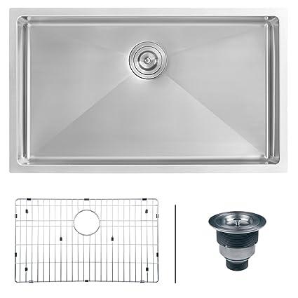 Ruvati 30 Inch Undermount 16 Gauge Tight Radius Kitchen Sink Stainless  Steel Single Bowl