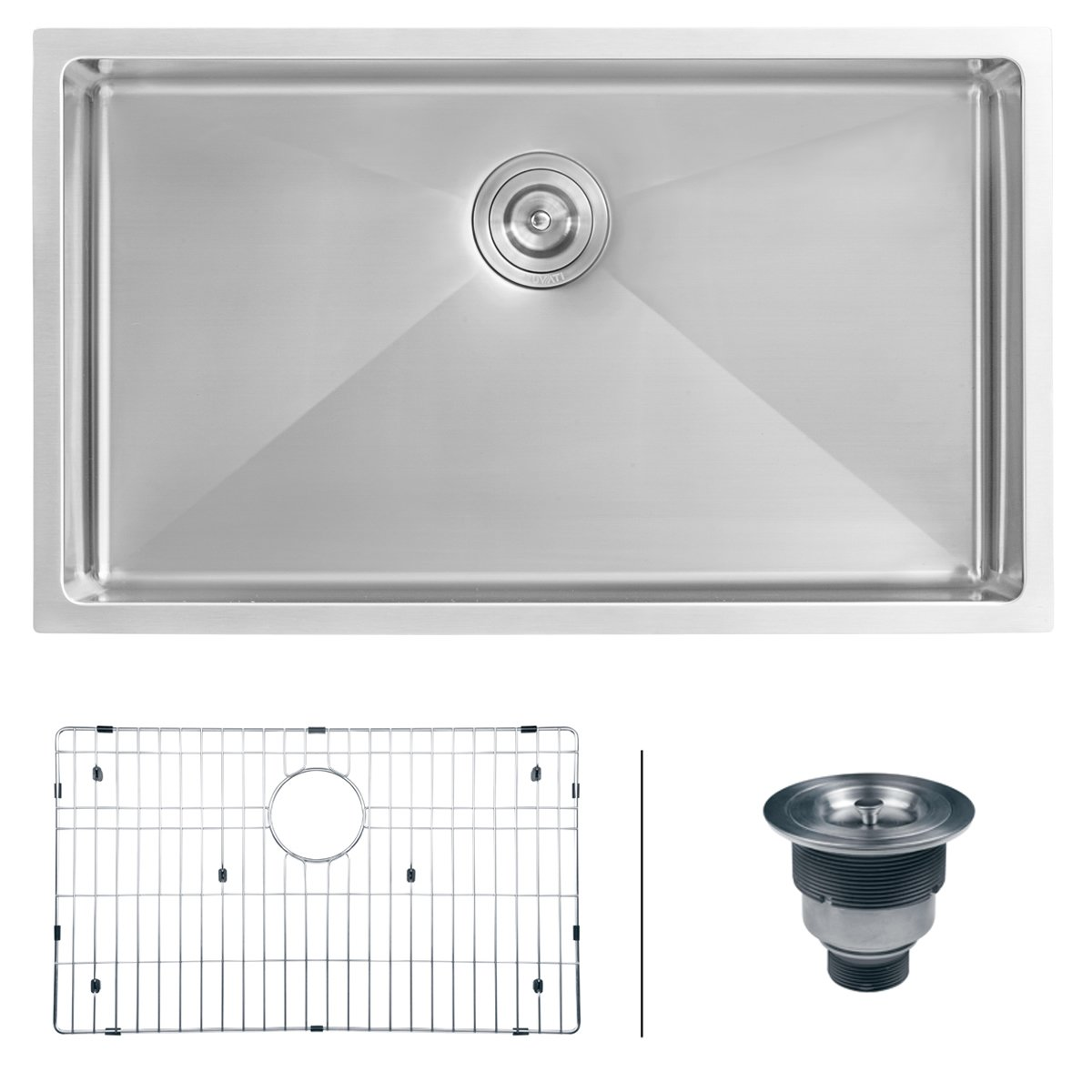 Ruvati RVH7400 Undermount 16 Gauge 32'' Kitchen Sink Single Bowl, Stainless Steel by Ruvati