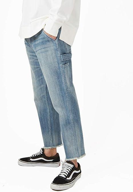 ペインターパンツ デニム メンズ ワイドパンツ デニムパンツ ワイドデニム ワイドデニムパンツ ストレッチ アンクルパンツ アンクル ジーンズ 裾 切りっぱなし カットオフデニム ストレート GRACIAS