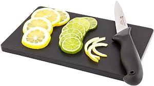 """Bar Lux Black Plastic Cutting Board - Non-Slip, Professional Use - 6"""" x 9 3/4"""" - 1 count box - Restaurantware"""
