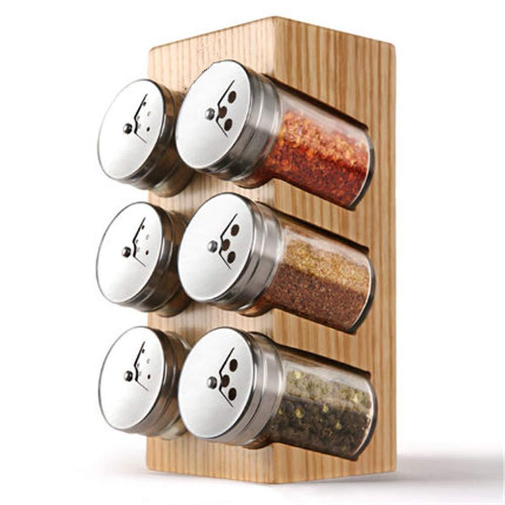 完璧な食品収納スパイス容器、天然竹塩とフタのついた箱、家のボウル、サービングティー、コーヒー、、ナッツジャー、ドレッシング B07T6YHTMC