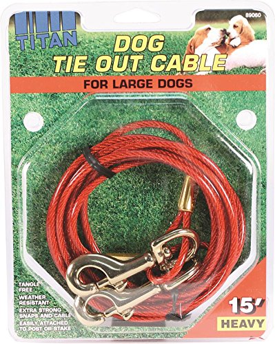 Tie Out Heavy 15' (Coastal Pet Products 89060 Titan Dog Heavy Tie Out Cable with Brass Plated Snaps, 15-Feet)