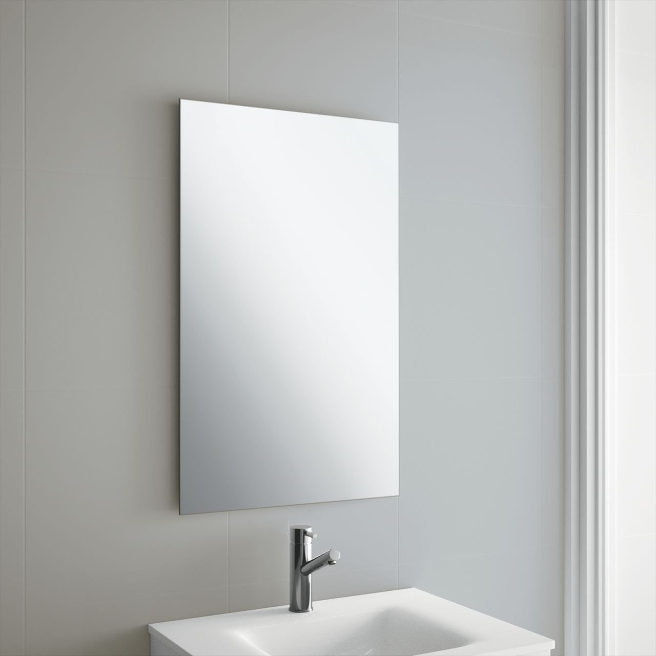 60 x 45cm Plain Frameless Bathroom Rectangle Mirror with Wall Fixings
