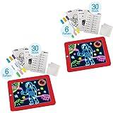 Magic Pad 2 STK Zaubertafel inkl. 6 Farbstifte in 6 tollen Neonfarben 60 Schablonen Ausmalen Grafiktablett Schreibplatte Malen Zeichnen | Das Original aus dem TV