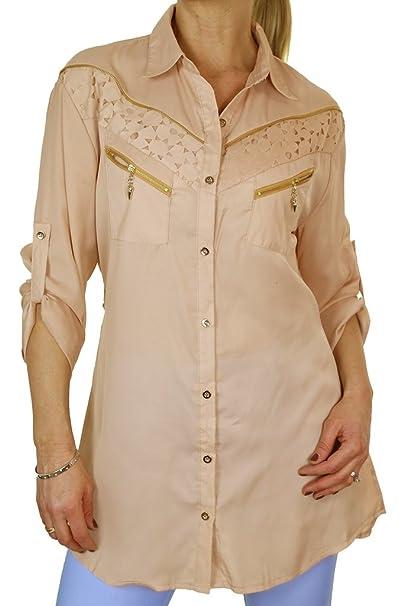 ICE (4061-3 y Beige Bellas Georgette Camisa con Decorativo Cremalleras de Oro para