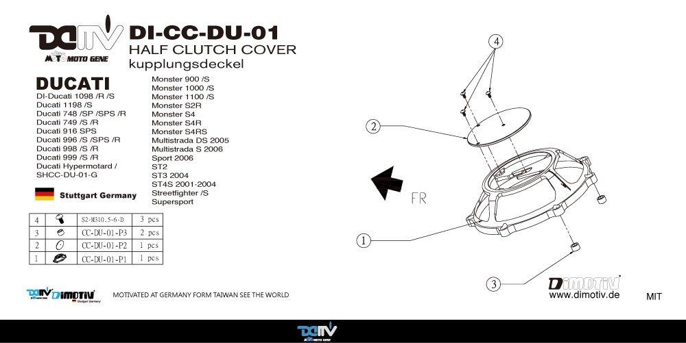 dimotiv DMV tapa del embrague para DUCATI serie (oro): Amazon.es: Coche y moto