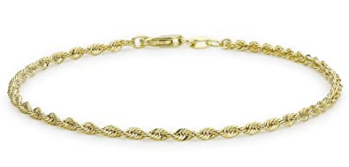 Carissima Gold 9ct Yellow Gold Semi Hollow Rope Bracelet of 18cm/7 s2Frj