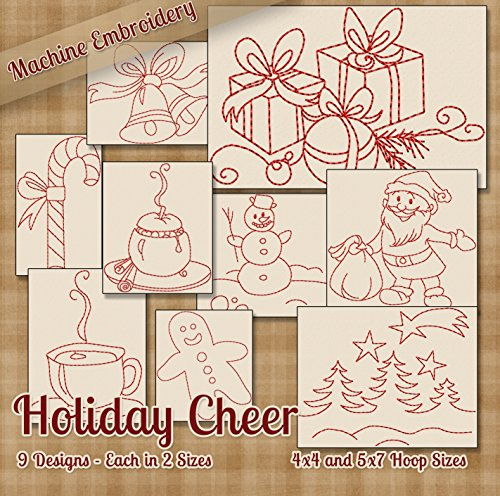 Holiday Cheer Redwork Embroidery Machine Designs on CD - Adorable Quick Outline Style Patterns - 2 Sizes Each - Multiformat - Christmas Redwork Machine Embroidery