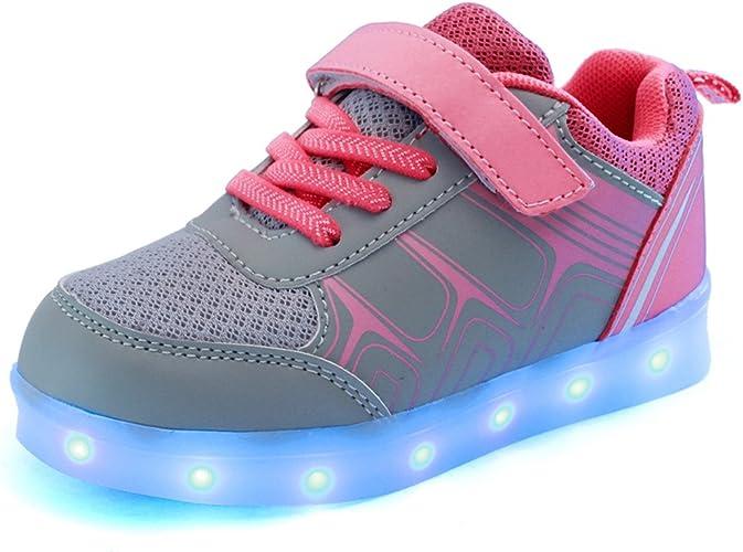 Voovix Baskets Montants Enfant Clignotant Chaussures de lumi/ère LED pour Gar/çons et Filles Multicolores Chaussures de Sport