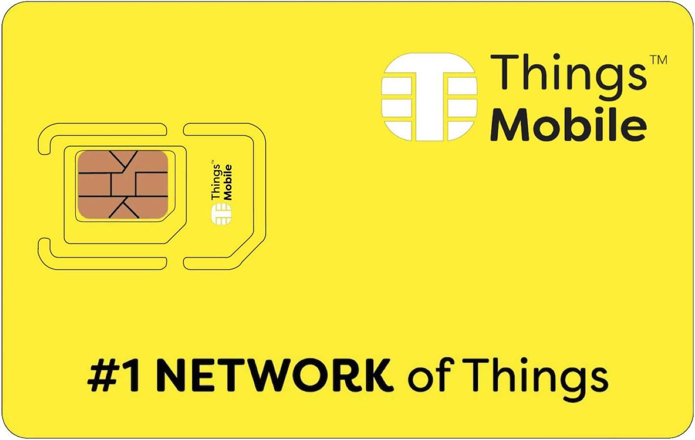 Tarjeta SIM Things Mobile de Prepago para IOT y M2M con Cobertura Global sin costos fijos. Ideal para domótica, rastreadores GPS, telemetría, alarmas, Smart City, Automotive. (SIM + 10 MB)