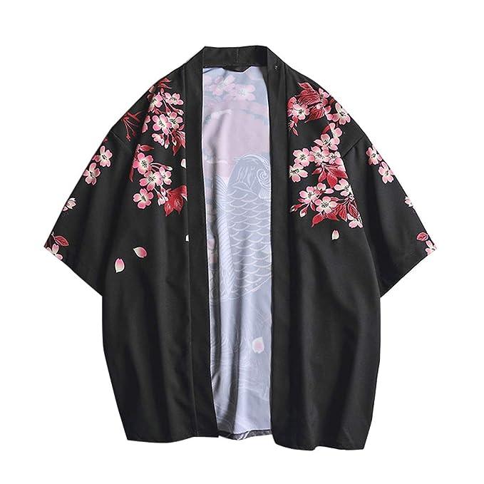 3990f419a LaoZanA Hombres Vintage Japonés Kimono Camisa Haori Estampado Holgado  Cárdigan