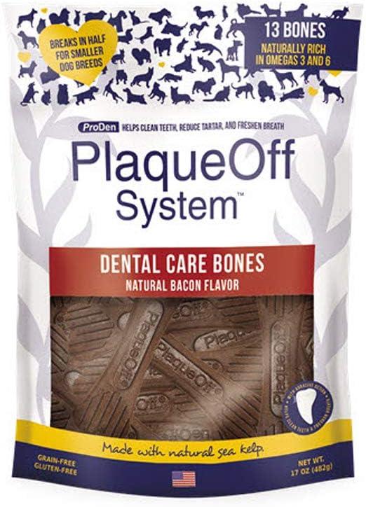 ProDen Plaque Off - Cuidado dental con huesos de bacón natural, 485 g